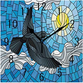 Square Wall Clock Battery Operated Quartz Analog Quiet Desk 8 Inch Clock, Stained Glass Style Illustration of Bird Flying in Sky with Sun and Clouds