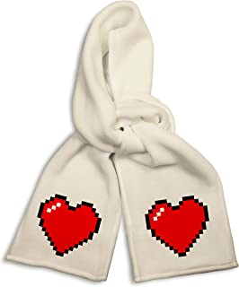White Winter Scarf - 8-Bit Heart Video Game