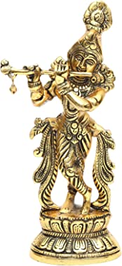 KridayKraft Lord Krishna Metal Statue,Krishna Murti Playing Flute for Temple Pooja,Decor Your Home,Office & Gift Your Rel