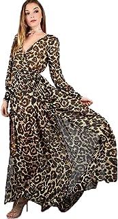 JinNiu マキシワンピース レディース リゾート ワンピース 旅行 ヒョウ柄 カジュアル ゆったり 大きいサイズ Vネック ファッション