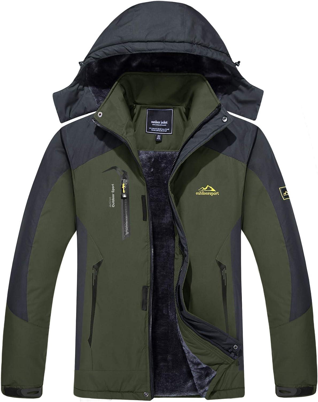 CRYSULLY Men's Snow Jacket - Winter Mountain Windbreaker Parka Ski Hooded Fleece Coat