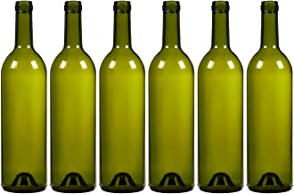 Paquete de 6botellas de vino botellas de vidrio–vacío, reciclable Burdeos para fermentar cerveza (Alcohol, vino supplies, verde