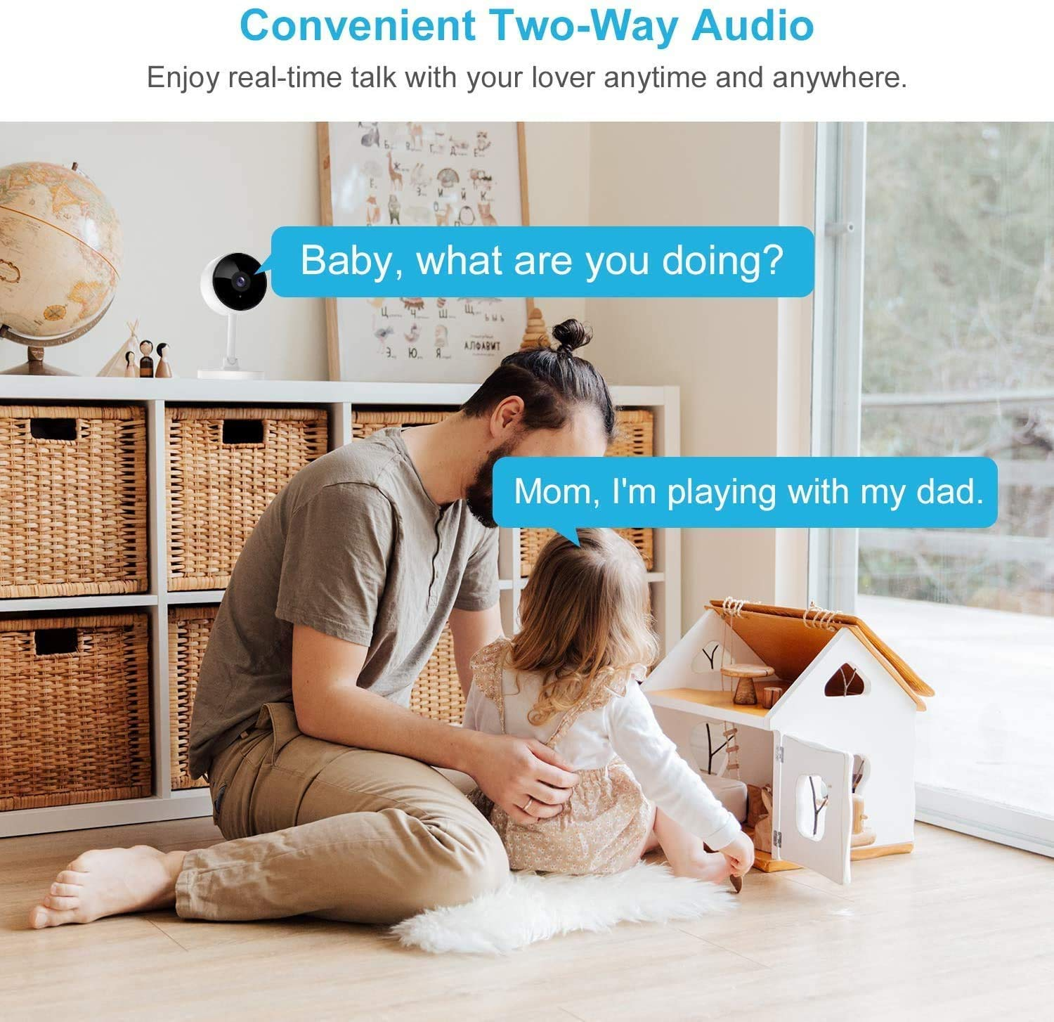 Wifi Camera, Littlelf 1080P Home Security Camera for Baby, Elder, Pet, Wireless Camera Indoor with Motion Detection, Reverse Call, 2-Way Audio, Night Vision, Works with Alexa