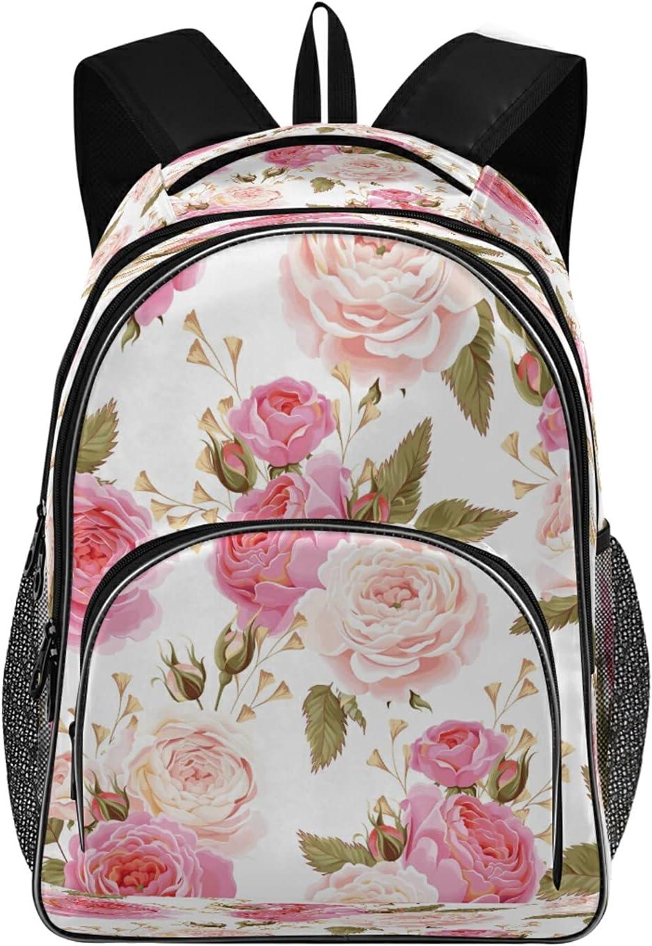 JSLIKE Floral Flower Rose Pink Travel Backpack Laptop for Men Easy-to-use Max 81% OFF Wo