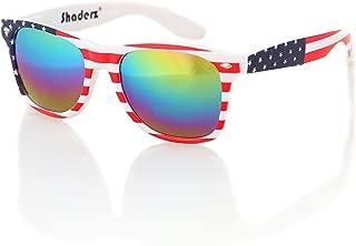 Shaderz Classic Eyewear Retro 80's American USA Flag 4th of July Frame Sunglasses