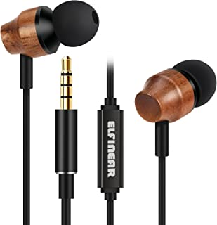 ELFINEAR Wood Earphones in-Ear Earbuds Hi-Fi Stereo Headphones for iPhone iPad iPod Samsung Galaxy and More Android Smartphones Compatible with 3.5 mm Headphone Earpods Black