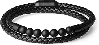 COAI Double Layer Matte Onyx Genuine Leather Bracelet