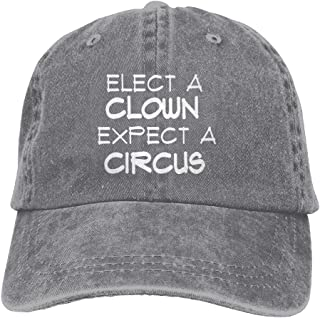 WXH6688 Elect A Clown Expect Circus Adjustable Washed Cap Cowboy Baseball Hat Ash