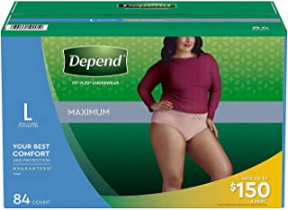 Depend FIT-FLEX Max Absorbency Underwear for Women, L, Tan, 84 ct Package may vary