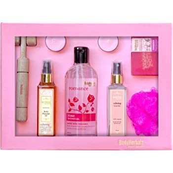 BodyHerbals Rose Essential Gift Set For Birthday & Anniversary Luxurious Bath and Body Spa Experience (Rose Shower Gel 200ml, Rose Geranium Soap 100gms, Rose Facial Mist 100ml, Rose Body Massage Oil 100ml, Wooden Massager, Bath Puff, 2 Tea Lites) Bath Set & Kits