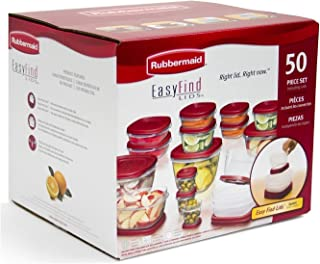 Rubbermaid Easy Find Lids Food Storage Containers, Racer Red, 50 Piece Set B002RSO2PW