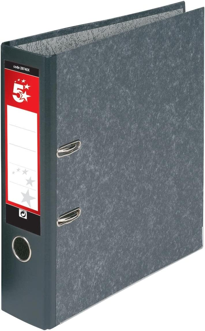5 Star Bombing new work Sale Special Price Lever Arch File 70mm 10 Grey Foolscap of Cloudy Pack