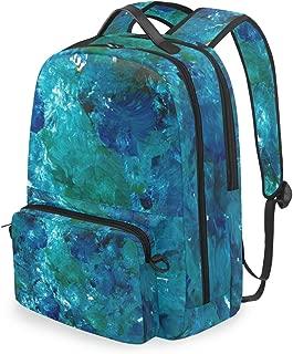 MALPLENA Daypack Blue Green Brush Strokes Paint School Bag Cross Bag Set Travel Bag