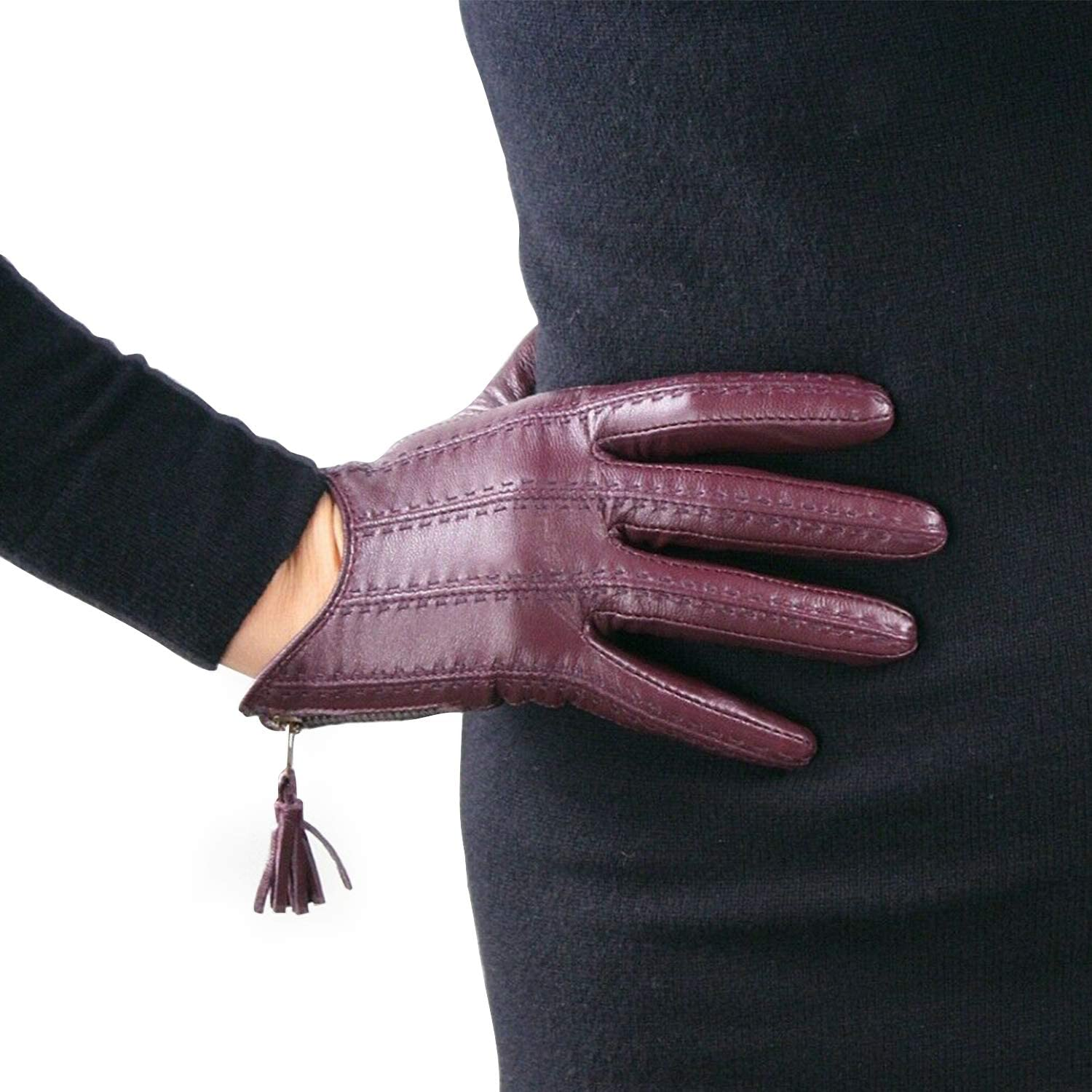 DooWay Short Black Real Leather Driving Gloves Touchscreen Imported Goatskin Leather Tassel Zipper Winter Warm Gloves,size M