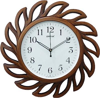Oreva Plastic Wooden Look Designer Silent Wall Clock (35.8 x 35.8 x 4 cm, Wood, AQ 6287 SS)