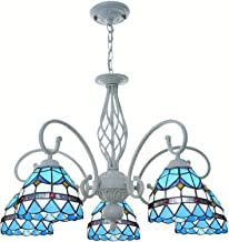 Tiffany Style Blue Mediterranean Chandelier Multi-Head Retro Stained Glass Hanging Pendant Lamp for Living Room Bedroom Di...