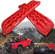 ZESUPER New Recovery Traction Tracks Escape Buddy Traction Mats for Off-Road Mud, Sand, Snow (Pack of 2) (Red)