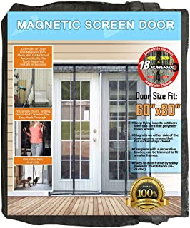 N-Green Double Door Magnetic Screen - Heavy Duty Mesh Curtain with Full Frame Velcro and Powerful Magnets that Snap Shut Automatically for Patio, Sliding, French Door (Fits doors up to 60''x80'' Max)
