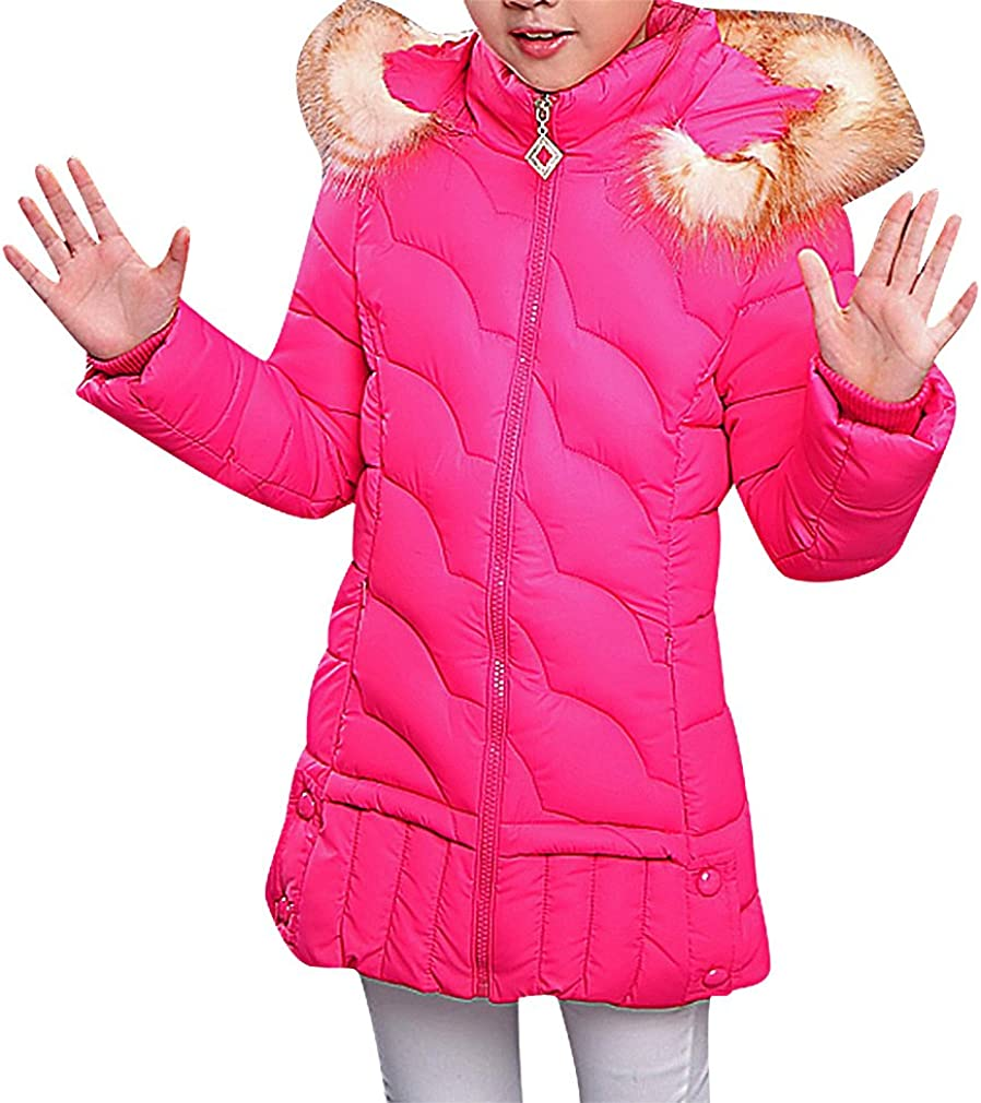 Sweety Girls' Eclectic Quilting Zip Up Fur Hood Cotton A Line Long Down Jacket