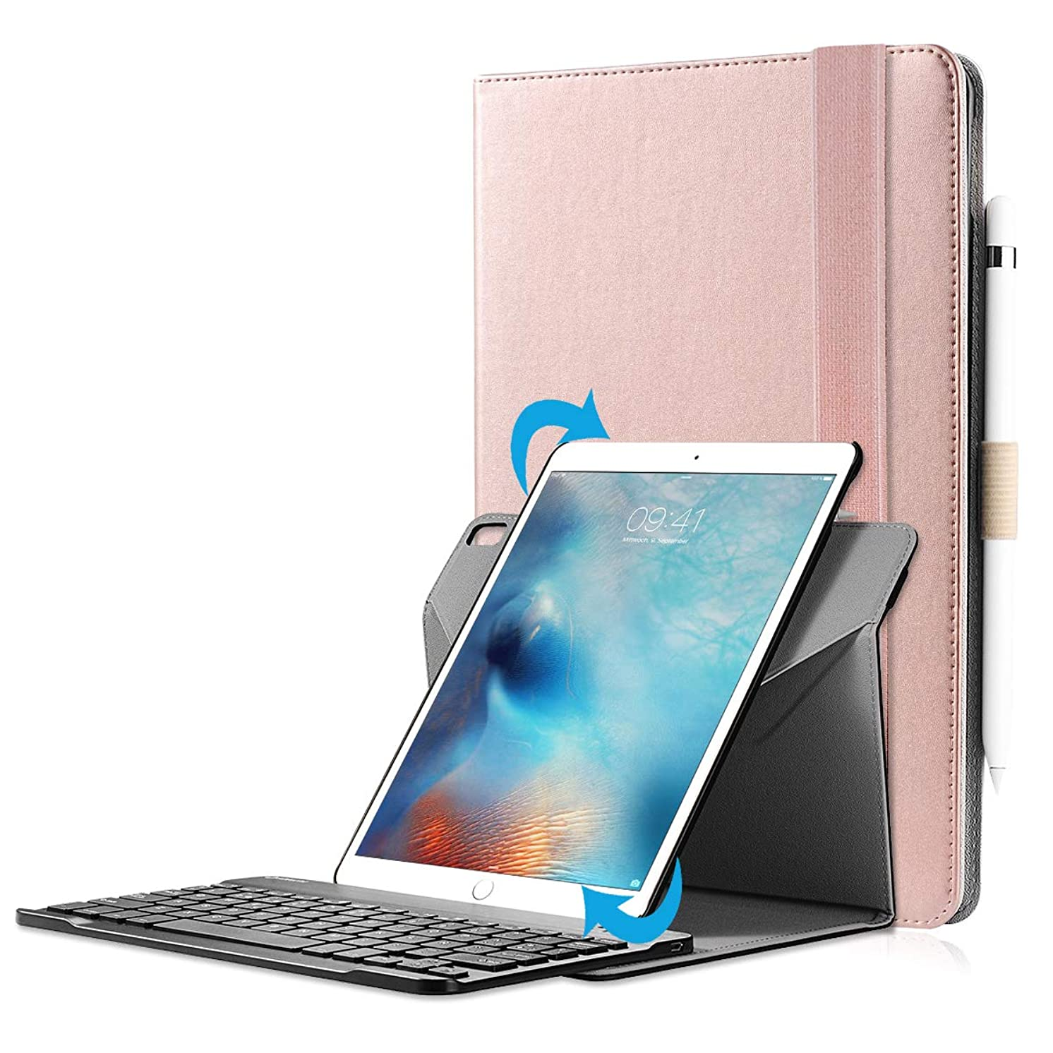 valkit Compatible with iPad 9.7 2017 Bluetooth Keyboard, iPad Air Keyboard Case, Detachable Wireless Bluetooth Keyboard for New iPad 9.7 2018 with 360 Degree Rotation and Multi-Angle Stand, Rose Gold
