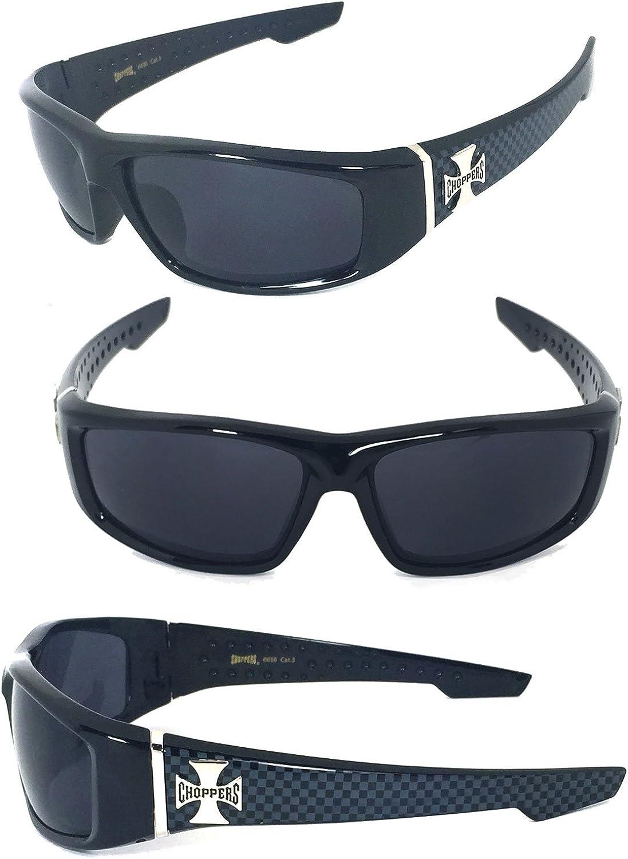 Choppers Mens Sunglasses Cross Logo Biker Black Matte Motorcycle Omaha Mall Factory outlet