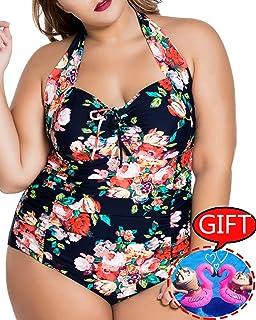 783c144ba1 Womens Plus Size Swimsuits One Piece Tummy Control Monokini Halter Floral  Printed Vintage Bathing Suit
