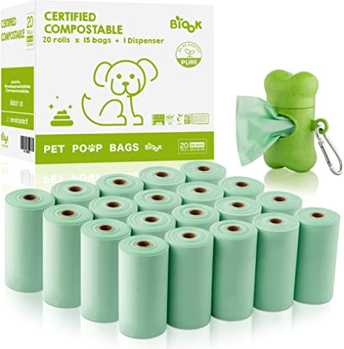 BIOOK Sacs à Déjections Canines 100% Biodégradables avec 1 Distributeur, Matériaux à Base de Fécule de maïs+PLA+PBAT ...