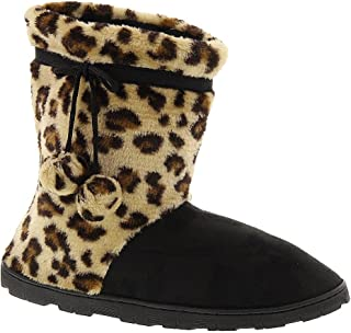Happy Feet - Leopard and Black Micro Boot - Snooki Slippers