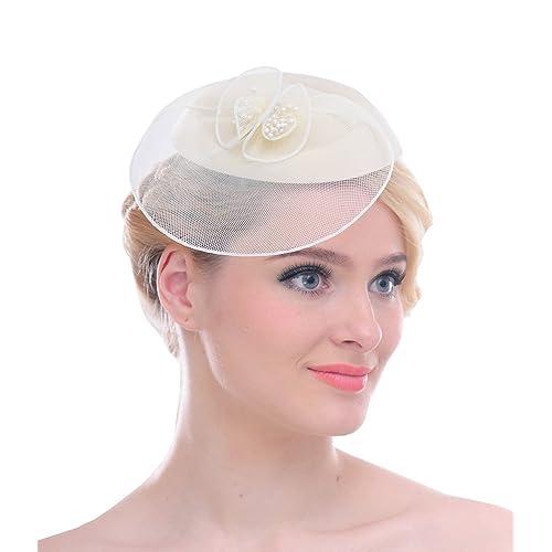 Women Mesh Net Flower Pillbox Hair Clip Fascinator Hat for Wedding Cocktail  Derby 0e5fbfc195e
