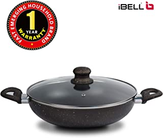 iBELL Non Stick Wok Pan/Kadai with Glass Lid, 2.8 LTR, 280KPN, Aluminium, Black(28Cm)