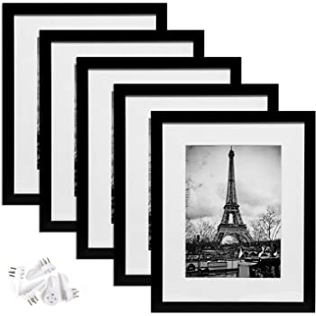 upsimples 11x14 Picture Frame Set of 5,Display Pictures 8x10 with Mat or 11x14 Without Mat,Wall Gallary Photo Frames,Black