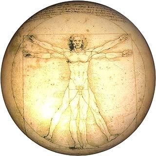 Parastone - Half Dome Glass Paperweight - Vitruvian Man by Leonardo DaVinci - 3