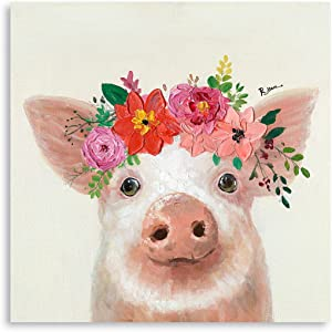 B BLINGBLING Farm Peach Pig with Flower Crown Canvas Wall Art, Cute Animal Painting Poster Print for Farmhouse Kitchen Bedroom Bathroom Decor Framed and Ready to Hang 12