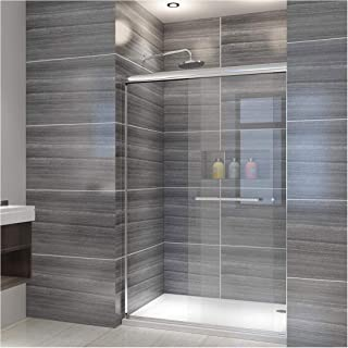 ELEGANT SHOWERS 46.5 in. to 48 in. W x 72 in. H, Semi-frameless 2 Bypass Sliding Shower Doors, 1/4 in. Clear Glass, Chrome Finish