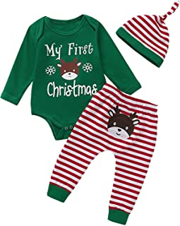 Shalofer Baby Boy My First Christmas Outfits Funny Deer Striped Pant Clothing Set with Headband