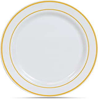 Select Settings [50 COUNT] (10.25 Inch) Gold Trim Disposable Plastic Dinner Plates