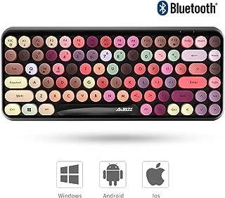 Ajazz ブルートゥース タブレット用キーボード レディースキーボード ワイヤレスキーボード コンパクトキーボード 軽量 Bluetooth キーボード タイプライター (カラフル)