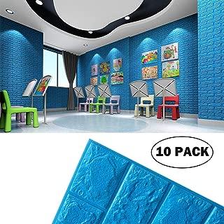 Blue Foam Brick Wall Panels, 3D Foam Brick Peel and Stick Wallpaper Self-Adhesive Removable for TV Background, Kids Children Boys Room Wall Decor, Bedroom, Kindergarten/ 10PACk