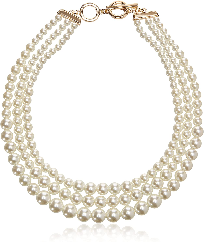 Anne Klein Women's Gold-Tone Blanc Pearl Collar Necklace