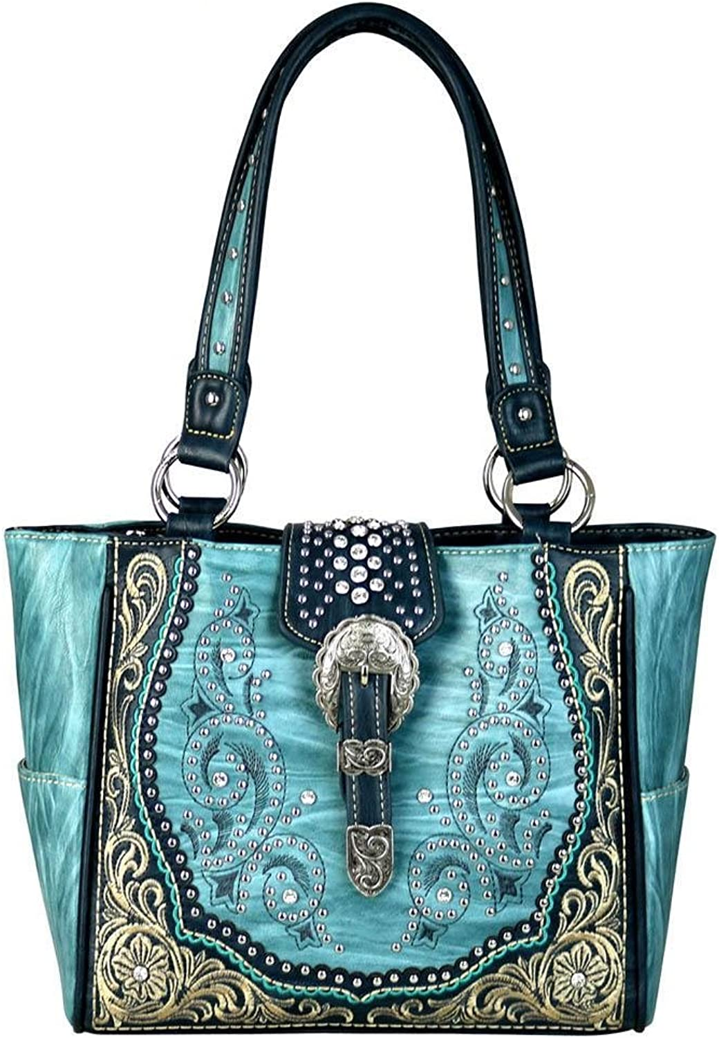 MW5868250 Montana West Buckle Collection Trapezoid Tote
