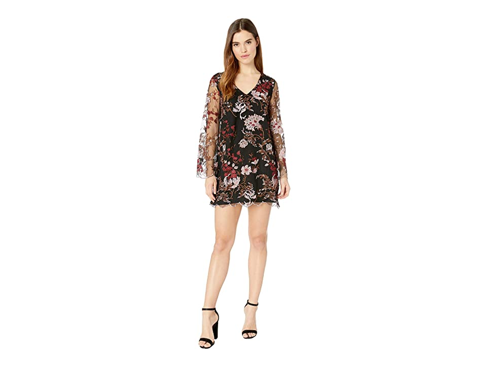 Miss Me Scalloped Floral Embroidered Chiffon Tie Back Mini Dress (Black) Women