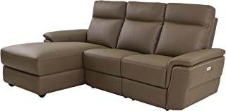 Homelegance 830835LRC Olympia 3 Piece Power Reclining Sectional Sofa with with Left Side Chaise & USB Charging Port Top Grain Leather Match, Raisin