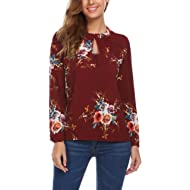ACEVOG Women's Round Neck Long Sleeve Floral Casual Chiffon Shirt Blouse Tops