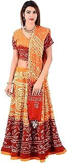 Orange Cotton Casual Women's Bhandej Lehnga