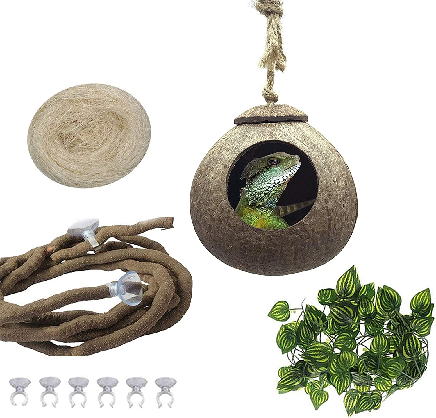 PINVNBY Crested Gecko Coco Hut Lizard Natural Coconut Shell Nest Durable Hanging Cave Habitat Climbing Porch Hiding Sleeping Breeding Pad Coconut House Texture for Reptiles,Amphibians