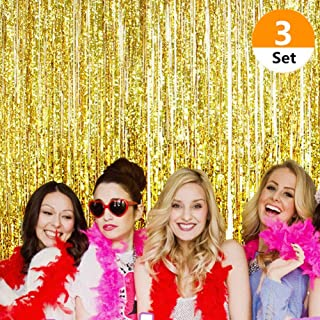 SAKOLLA Gold Metallic Tinsel Foil Fringe Curtains - Photo Booth Props for Birthday Decorations,Bachelorette Party, Weddings,Baby Shower Decorations (3.2 x 9.8 FT) - Set of 3
