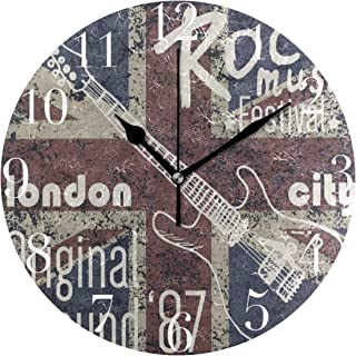 FunnyCustom Round Wall Clock Vintage Union Jack Rock Music Note Acrylic Creative Decorative for Living Room/Kitchen/Bedroom/Family