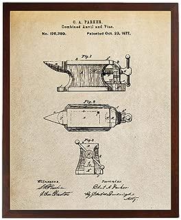 Turnip Designs Blacksmith Anvil Patent Poster Barn Wall Art Farm Decor Metal Work Blacksmith Made TDP397