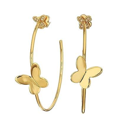 Kate Spade New York In A Flutter Hoops Earrings (Clear/Gold) Earring