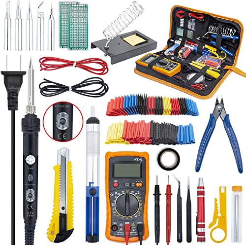 Ambberdr Portable Soldering Iron Kit Welding Tool, 60W Adjustable Temperature Soldering Iron with ON/OFF Switch, Digi...